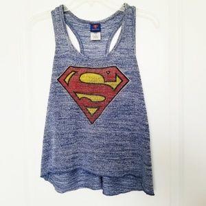 🍁 DC Comics Heathered Blue Superman Tank Top